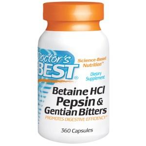 Betain HCl, Pepsin & Enzian Bitter, 360 Stk. (Lieferant: iHerb) Image